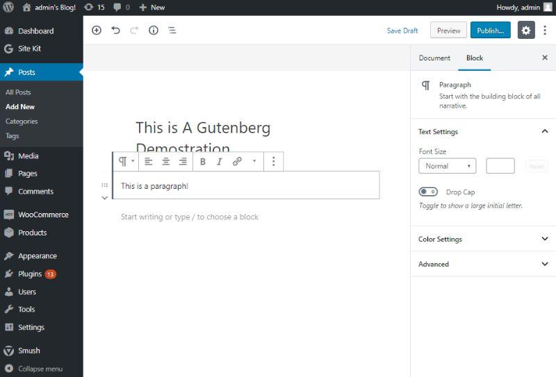 Gutenberg paragraph block