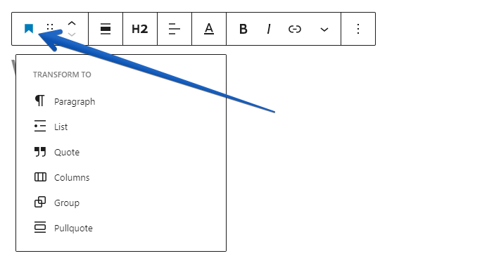 Showing the button to click to convert a block to a paragraph block