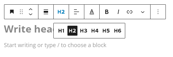 Showing the different heading options from H1 to H6