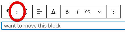 Highlighting the four dots used for dragging blocks up or down