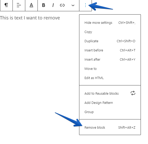 pointing to the option for removing a block in the toolbar