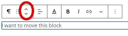 highlighting the two arrows used to move blocks up or down