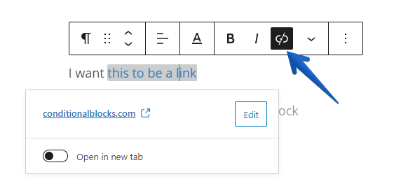 Arrow pointing to the unlink option for text