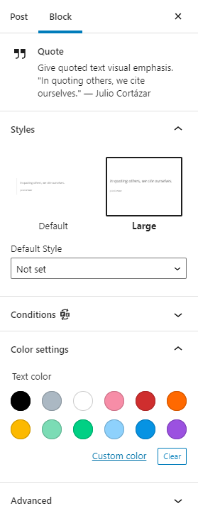 Showing the quote editing settings on the right hand toolbar