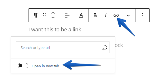 Showing the link options to create a new link and open it in a new tab