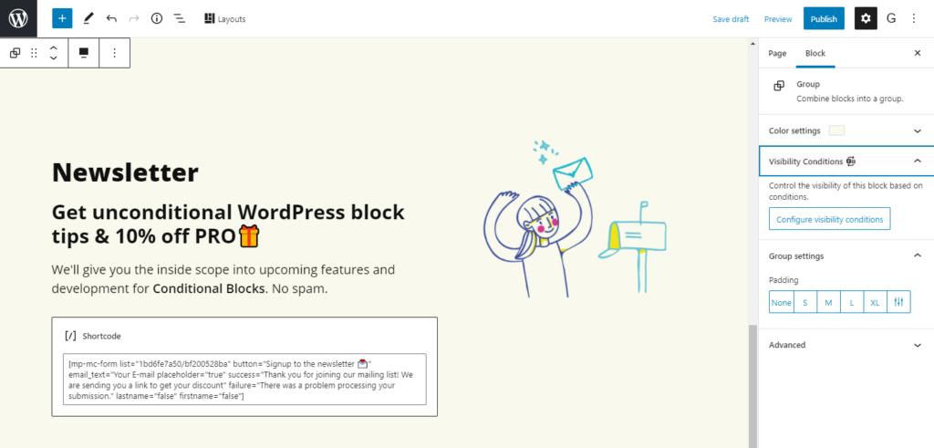 Add condition newsletter block