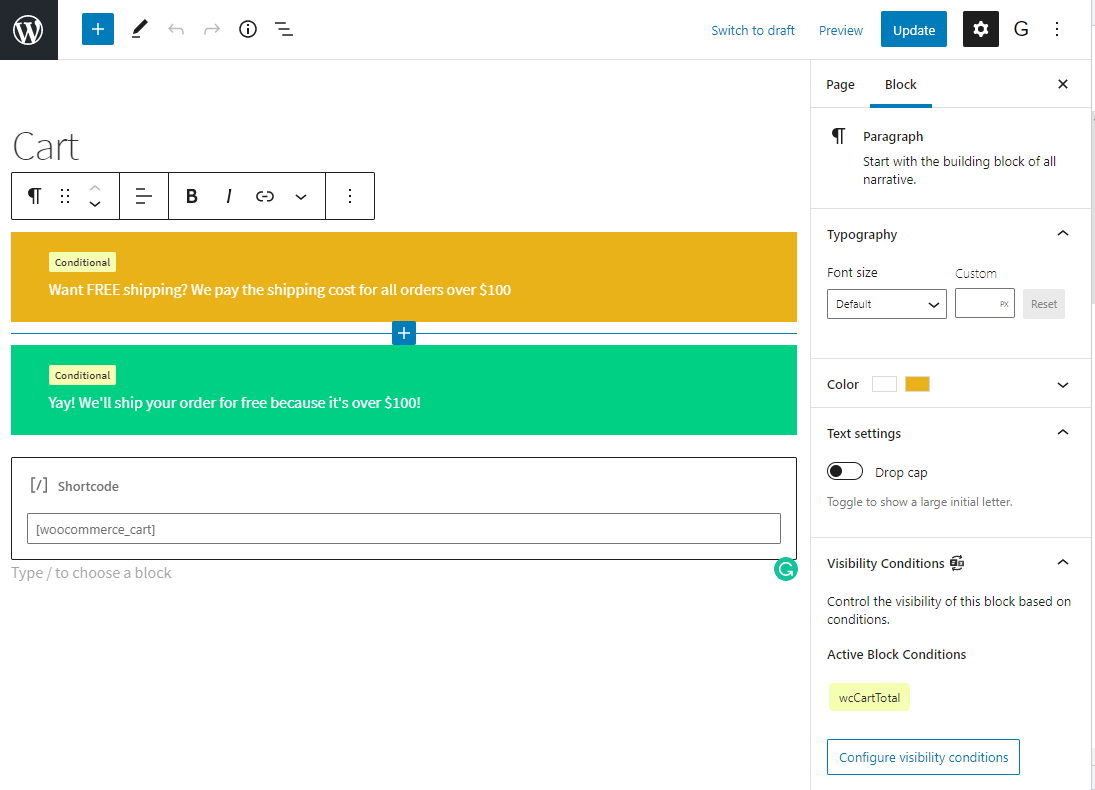 Screenshot of the adding WooCommerce conditions to WordPress Blocks