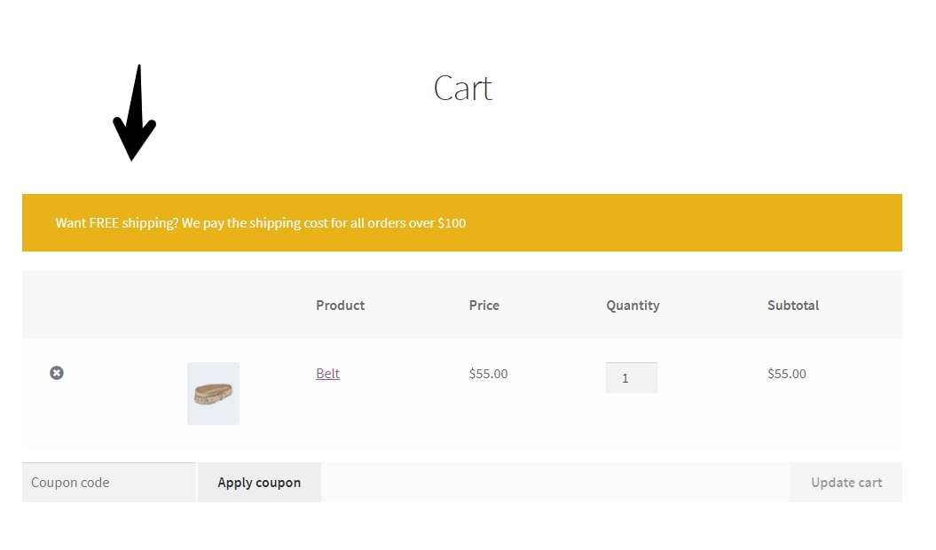 Example of displaying unique content to customers when their is under $100 in total value.