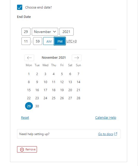 End date periodic discounts