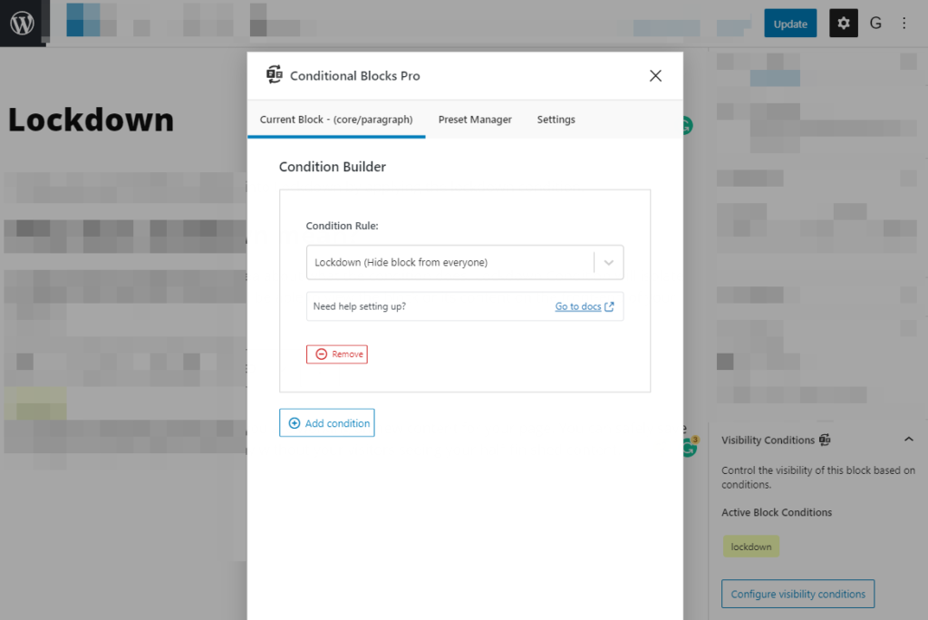 Example of changing the visibility to hide WordPress blocks when using the Lockdown condition in Conditional Blocks.