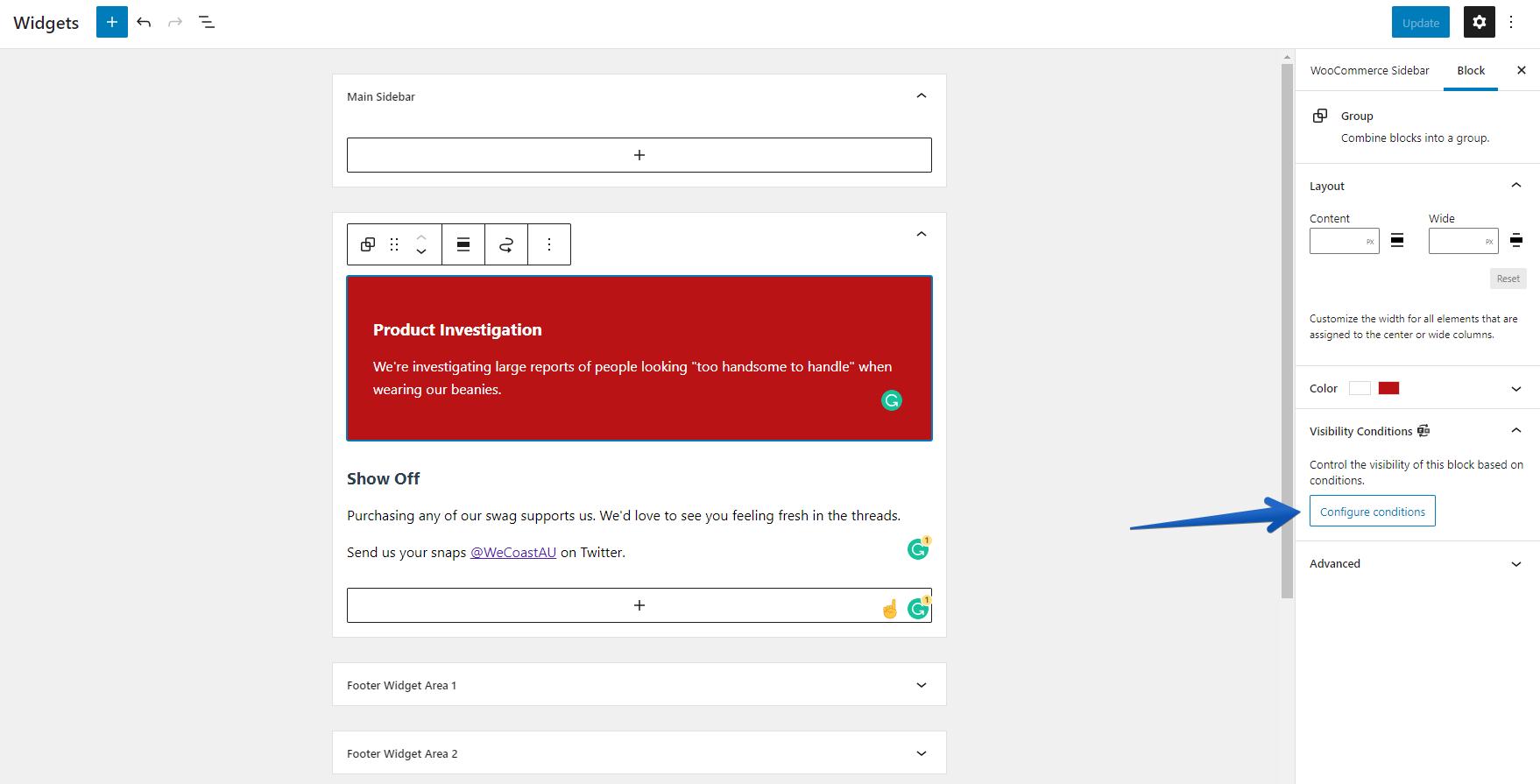 Screenshot of creating a block widget for sidebars in WordPress 5.8+