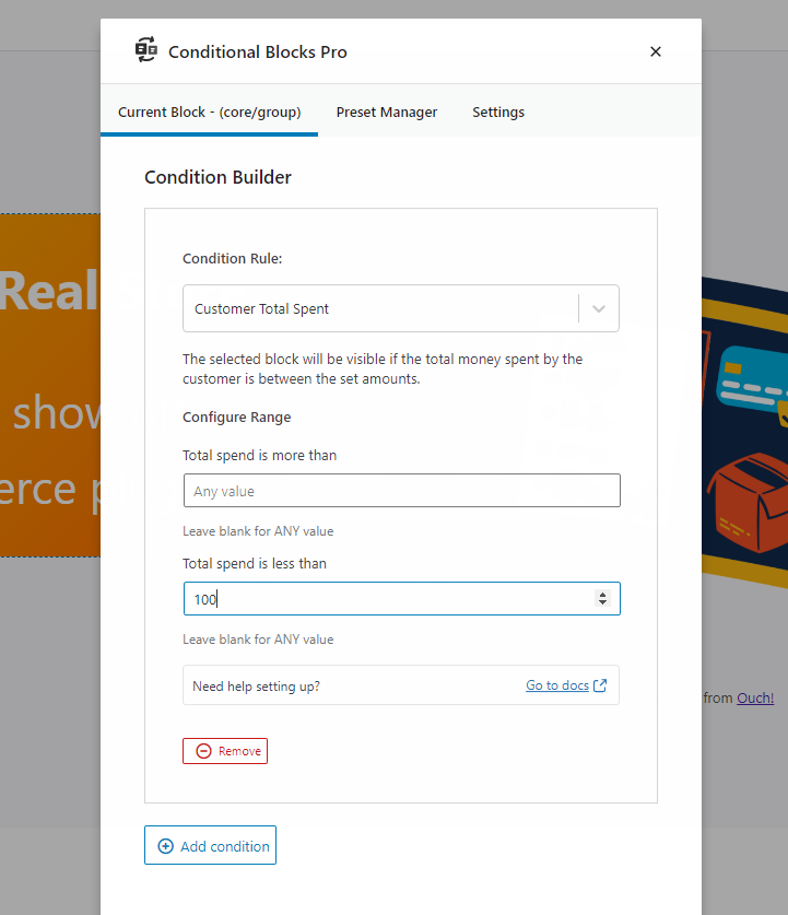 Conditional content based on total money spent by WooCommerce customer