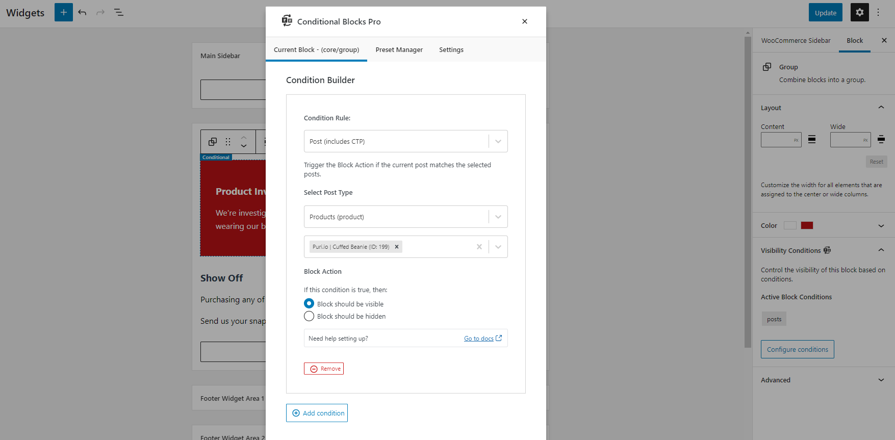 Adding the setting to control the visibility of a WordPress Block Widget